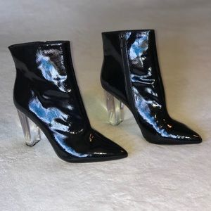 Jessica Simpson black patent Boots with clear heel